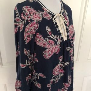 LUCKY BRAND BOHO NAVY PINK PEASANT KNIT BLOUSE